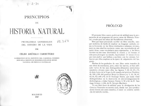 Principios de Historia Natural de Celso Arévalo Carretero