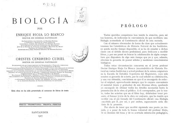 Texto de Biología de 1927