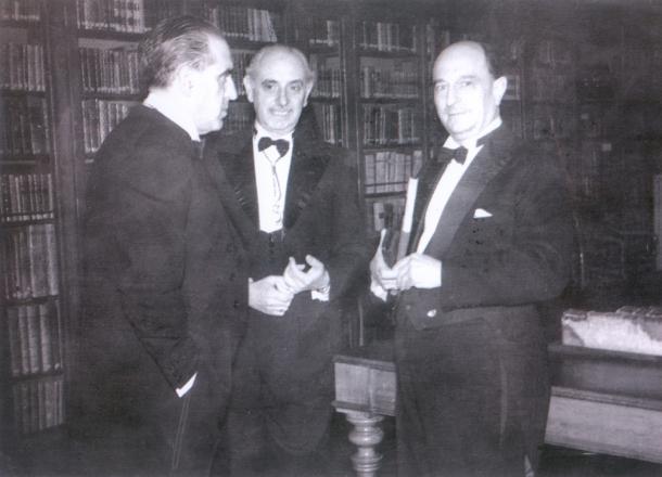 Esteban Terradas junto a Gregorio Marañón (dcha) y a José María Pemán (centro).