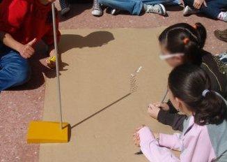 Medida de la sombra del gnomón por alumnas del IES Lucas Martín Espino de Icod de los Vinos, en Tenerife
