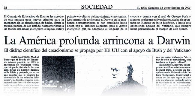 Titular del diario el País de 13 de noviembre de 2005