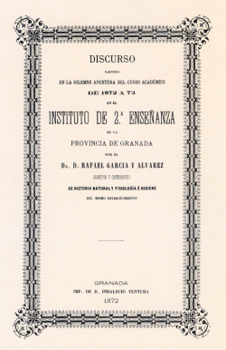 Portada del fácsimil del discurso de inauguración del curso 1872-73