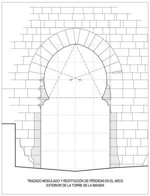 Trazado modulado y reconstrucción de pérdidas en el arco exterior de la torre de la Imagen